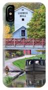 Ludwig Mill And Canal Boat  1480 IPhone Case