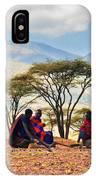 Maasai Men Sitting. Savannah Landscape In Tanzania IPhone Case