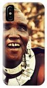 Maasai Old Woman Portrait In Tanzania IPhone Case