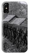 Mabry Mill Water Shute In Black And White IPhone Case