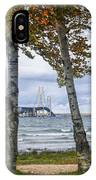 Mackinaw Bridge In Autumn By The Straits Of Mackinac IPhone Case