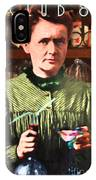Madame Marie Curie Shaking Up A Killer Martini At The Swank Hipster Club 88 20140625 With Text IPhone Case