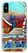 Magical Pond Hockey Memories Hockey Art Snow Falling Winter Fun Country Hockey Scenes  Spandau Art IPhone Case