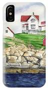 Maine Lighthouse Watercolor IPhone Case