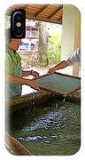 Making Paper Using Mulberry Tree Pulp At Boring Paper Factory In Chiand Mai-thailand IPhone Case