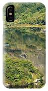 Man In Small Fishing Boat Travelling On Upper Lake Of Killarney National Park County Kerry Ireland IPhone Case