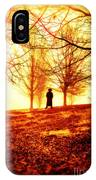 Man Standing In Front Of A Blazing Forest Fire IPhone Case