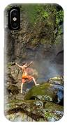 Man Standing On Rocks Near Waterfall IPhone Case