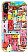 Manarola Colorful Houses Painting Detail IPhone Case