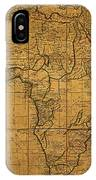 Map Of Africa Circa 1829 On Worn Canvas IPhone Case