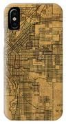 Map Of Denver Colorado City Street Railroad Schematic Cartography Circa 1903 On Worn Canvas IPhone Case