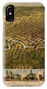 Map Of Houston Texas Circa 1891 On Worn Distressed Canvas IPhone Case