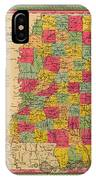 Map Of Mississippi 1850 IPhone Case