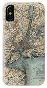 Map Of New York 1891 IPhone Case