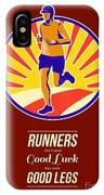 Marathon Runner Retro Poster IPhone Case
