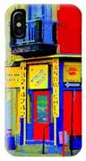 Marche Unique Cafe Sandwich Depanneur Rue St. Jacques St. Henri  Street Scenes Carole Spandau IPhone Case
