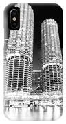 Marina City Towers At Night Black And White Picture IPhone Case