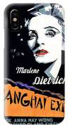Marlene Dietrich Art Deco French Poster Shanghai Express 1932-2012 IPhone Case