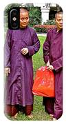 Maroon-robed Monks At Buddhist University In Chiang Mai-thailand IPhone Case