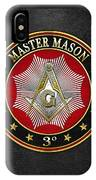 Master Mason - 3rd Degree Square And Compasses Jewel On Black Leather IPhone Case