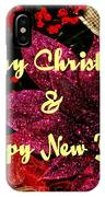 Merry Christmas With Purple Poinsettia IPhone Case