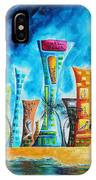 Miami City South Beach Original Painting Tropical Cityscape Art Miami Night Life By Madart Absolut X IPhone X Case