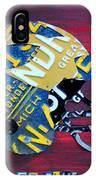 Michigan Wolverines College Football Helmet Vintage License Plate Art IPhone Case