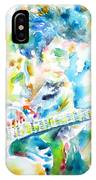 Mike Bloomfield Playing The Guitar - Watercolor Portrait IPhone Case