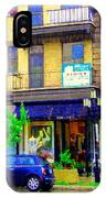 Mimi And Coco Clothing Boutique Laurier In The Rain  Plateau Montreal City Scenes Carole Spandau Art IPhone Case