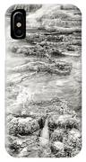 Minerva Springs In Black And White Yellowstone National Park Wyoming IPhone Case