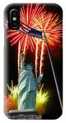 Miss Liberty And Fireworks IPhone Case