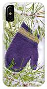 Mitten In Snowy Pine Tree IPhone Case