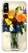 Mixed Bouquet Of Tropical Colored Flowers On Textured Vignette Oil Painting IPhone Case