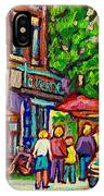 Monkland Tavern Corner Old Orchard Montreal Street Scene Painting IPhone Case