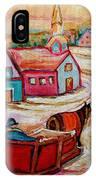 Mont St.hilaire Going Towards The Village Quebec Winter Landscape Paintings Carole Spandau IPhone Case