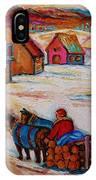 Mont St.hilaire Winter Scene Logger Heading Home To Quebec Village Winter Landscape Carole Spandau IPhone Case