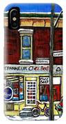 Montreal Art Hockey Paintings Chez Bert Depanneur The Pointe Verdun City Scene Carole Spandau  IPhone Case