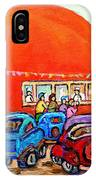 Montreal Art Orange Julep Paintings Montreal Summer City Scenes Carole Spandau IPhone Case