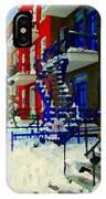 Montreal Art Streets Of Verdun Winter Scenes Winding Staircases Snowscenes Carole Spandau IPhone Case