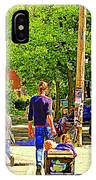 Montreal Art Summer Cafe Scene Rue Laurier Family Day Wagon Ride City Scene Art By Carole Spandau IPhone Case