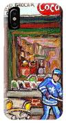 Montreal Hockey Paintings At The Corner Depanneur - Piche's Grocery Goosevillage Psc Griffintown  IPhone Case