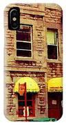 Montreal Memories Restaurant Chez Orphee 362 Fairmount Cb Spandau Montreal Premier City Scene Artist IPhone Case
