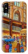 Montreal Memories-streetcars-morgan's Department Store At St.catherine And Union IPhone Case