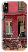 Montreal Memories The Old Neighborhood Timeless Triplex With Spiral Staircase City Scene C Spandau  IPhone Case