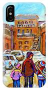Montreal Paintings Winter Walk Past The Old School Snowy Day City Scene Carole Spandau IPhone Case