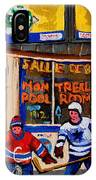 Montreal Pool Room City Scene With Hockey IPhone Case