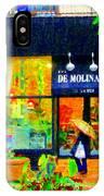 Montreal Rainy Day  Window Shopping Girl With Paisley Umbrella Spa Molinard Laurier  Carole Spandau IPhone Case