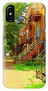 Montreal Stairs Winding Staircases And Sunny Tree Lined Sidewalks Verdun Scenes Carole Spandau  IPhone Case