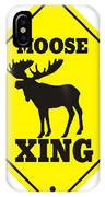 Moose Crossing Sign IPhone Case
