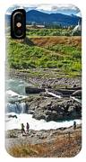 Moricetown Falls And Canyon Fishing Operation On The Bulkley River In Moricetwown-british Columbia  IPhone Case